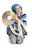 Jeune fille avec disque laser ecoute de la musique poster