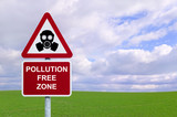 Pollution Free Zone sign environment conservation concept  poster