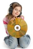 Enfant avec disque laser ecoute de la musqiue poster