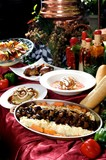 Assorted gourmet entrees on display table poster