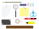Stationery set with various writing equipment. poster