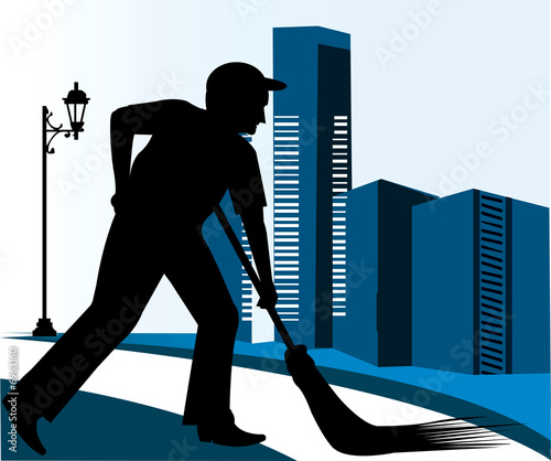 silhouette of a man cleaning the road