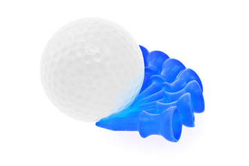 Golf ball and blue tees