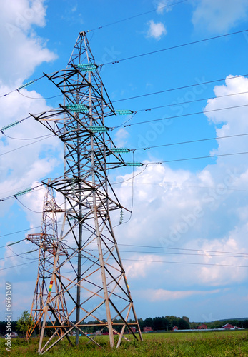 Power lines and electric pylon