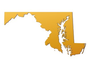 Maryland (USA) map filled with orange gradient