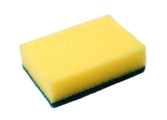 yellow sponge for dish washing on white background