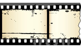 Two frames of grungy film strip in editable vector poster