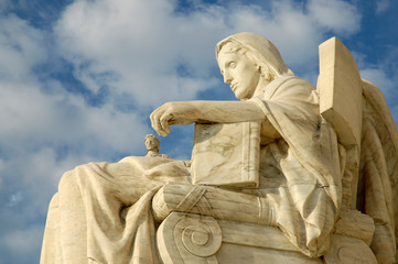 Contemplation of Justice Statue at US Supreme Court