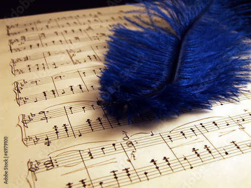Writing notes on the yellow paper with blue feather