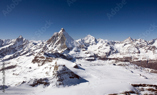 Panoramic view of Alps in Bernese Oberland region