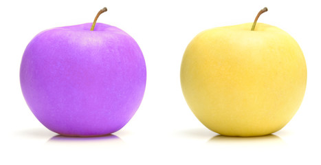 Two apples. real and invented color
