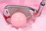 Ladies golf club, pink golfball in pink golf cap interior