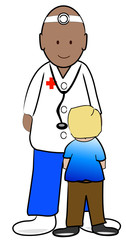 young boy patient talking to his doctor