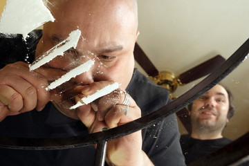 Snorting cocaine