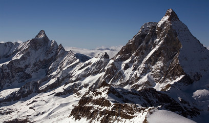 Two peaks in Alps. Bernese Oberland region
