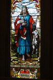 stained glass window The Lord is my Shepherd poster