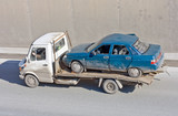 wreck car carrier truck deliver dameged car to repair box poster