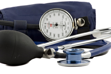 Blue Stethoscope & blood-pressure device isolated on white