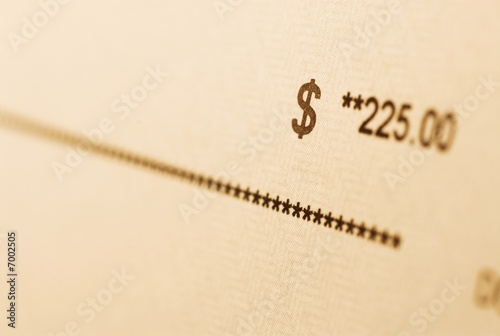 A check with amount in focus.