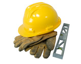 Yellow hardhat, old leather gloves and a level  poster