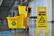 canvas print picture - Caution Wet Floor