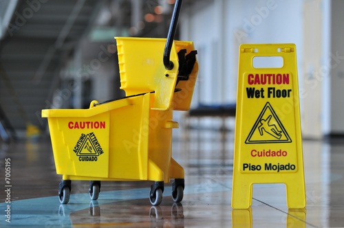 canvas print picture Caution Wet Floor