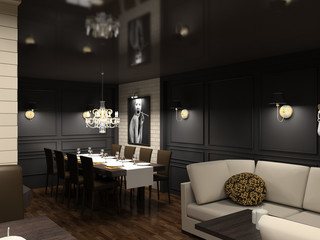 3D render modern interior of dining-room