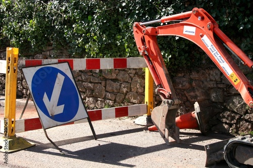 roadworks and digger