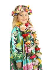 Enfant déguisée en tahitienne