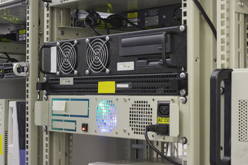 Industrial server in rack of collocation center