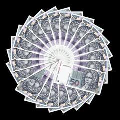 Croatian bank notes of 50 kunas in circle