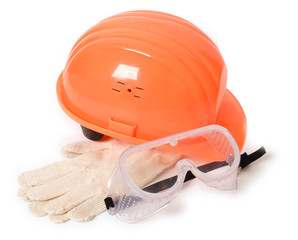 Hard-head, gloves and safety glasses