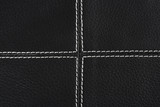 black leather background stitched up by white thread poster