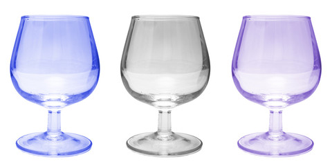 three wine glasses on white