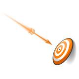 Orange Dart Hitting Target poster