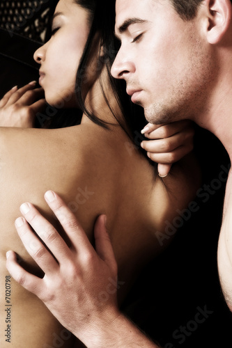 Intimate lovers embrace