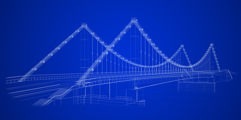 3d wireframe render of a bridge in blue