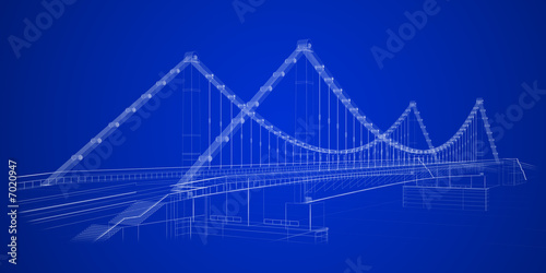3d wireframe render of a bridge in blue - 7020947