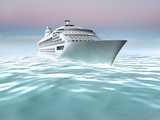 Illustration of cruise ship at sea. Non-realistic 3D render poster