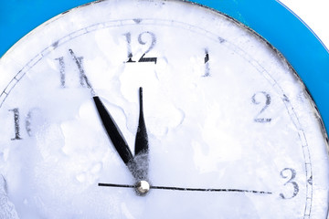 frozen time blue clock
