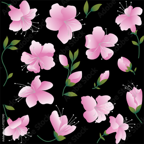 Pink flowers on black background. Seamless figure.