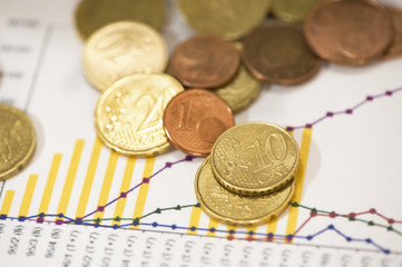 euro coins on financial data papers