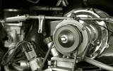 exposed 1960's camper van engine