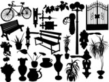 Silhouettes of diferrent objects poster