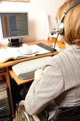 Handicapped woman working as telemarketer