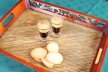 Freshly brewed espresso shots