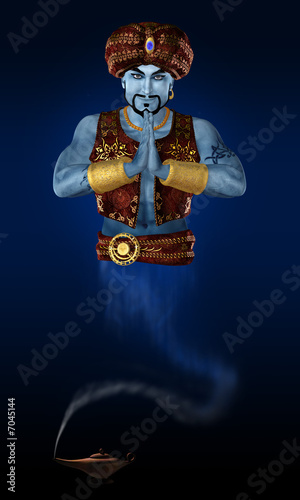 Genie from lamp. 3D render.