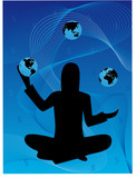Business Woman juggling globes poster