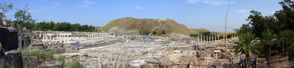 Panoramic view on ancient Scythopolis city in Beit-Shean, Israel