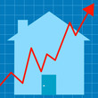 blue graph with house - unstable housing market